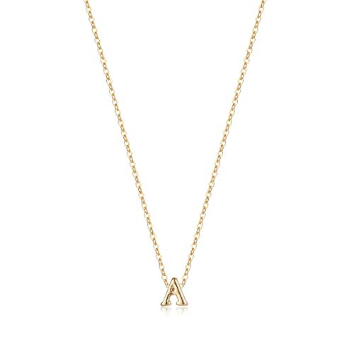 (Tiny Initial Necklace, 14K Gold Plated Dainty Letter A Necklace Delicate Small Initial Necklace Personalized Monogram Name Necklace for Girls Women (A))
