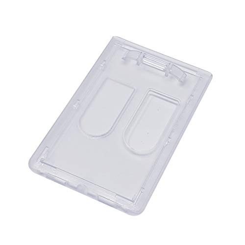 Heavy Duty Dual Sided Badge Holder - Holds 2 Cards - Polycarbonate Vertical - Durable Rigid Clear Hard Plastic Badges - Secure Top Load Sleeve Card Protector Case by Specialist ID, Sold Individually