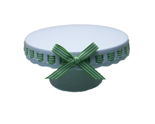 - Gracie China by Coastline Imports 10-Inch Round Porcelain Skirted Cake Stand, Green and White Stripes Ribbon
