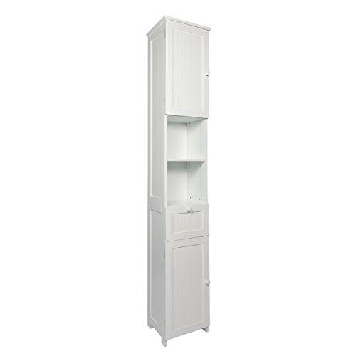 Woodluv Slim Shaker Tall Boy Free Standing Bathroom Storage ...