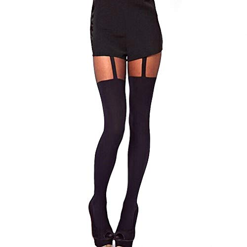 Pantyhose Style Suspender (Dawery Womens New Black Fake Garter Belt Thigh High Stockings Over The Knee Summer Style Sexy Stockings for Women Pantyhose)
