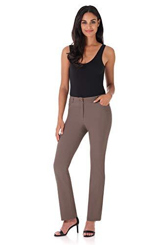 Rekucci Women's Iconic Stretch 5 Pocket Straight Leg Pant w/Zipper Closure (8,Mocha)