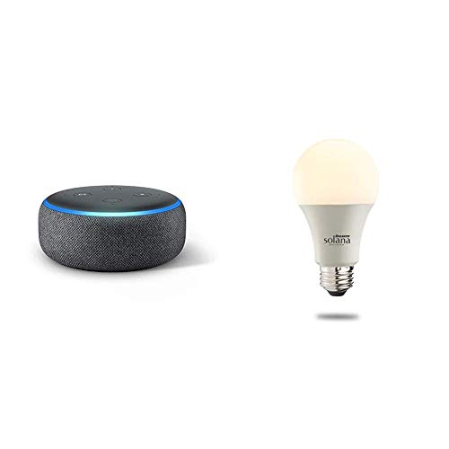 Echo Dot (3rd Generation) – Charcoal with 1 Bulbrite Solana SMART LED Wifi Light Bulb