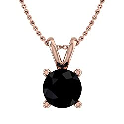 Black Diamond Solitaire Pendant with Silver Chain