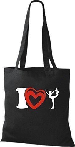 ShirtInStyle La bolsa de asas Bolsa de algodón I Love Yogo Yoga Sport Gimnástico - fucsia Negro