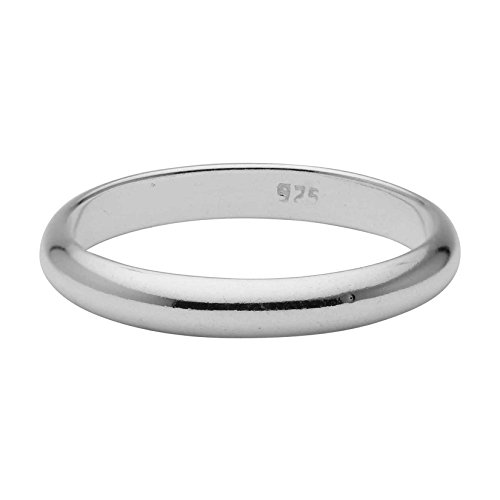 Sterling Silver Wedding Band 3mm Men or Women Bridal Ring Size 9 | Polished Finish | Tarnish Resistant
