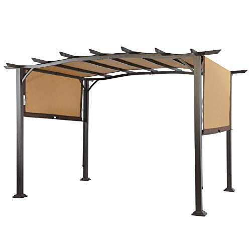 COSTWAY Pergola Outdoor Steel Frame Patio Sun Shelter Retractable Canopy Shade