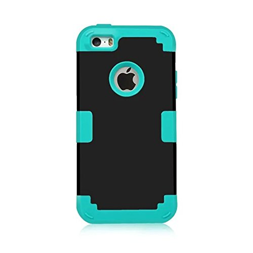 iPhone 5S Case, Phone SE Case, Asstar 3 in 1 Hard PC+ Soft TPU Impact Protection Heavy Duty Shockproof Full-Body Protective Case for Apple iPhone SE / iPhone 5 5S (Black blue)