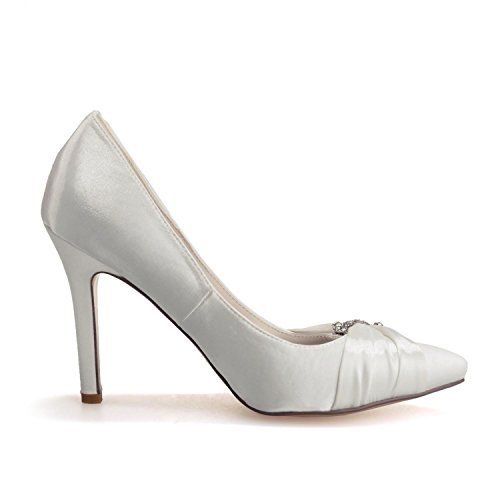 Elegant high shoes0608-23 Frauen High Heels Hochzeit Seide Close Up Outdoor/Kleidung/Casual & Evening/Party White