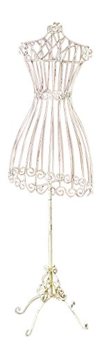 (Cream White 59'' Dress Form | Antique Victorian Iron Standing)