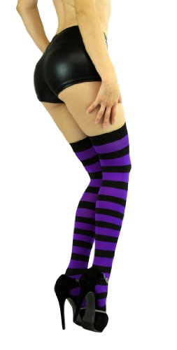 b36d34688a5ac ToBeInStyle Women's Wide Vertical Striped Thigh Hi Stockings Free, Black  Purple