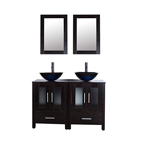 """48"""" Black Bathroom Vanity Cabinet Double Sink Combo w/Mirror Faucet and Drain (Glass Sink)"""