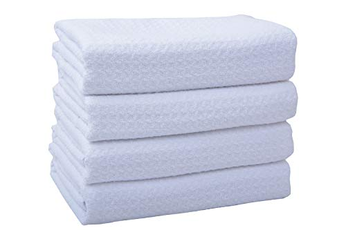 Towel, 4 Pack 16 Inch X 24 Inch, White Microfiber Kitchen Towel, Dish Towel Ultra Soft Super Absorbent Fast Drying Machine Washable ()