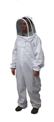 New Professional Large / XL Cotton Full Body Beekeeping Bee Keeping Suit, with Veil Hood By VIVO (Bumblebee Suit)