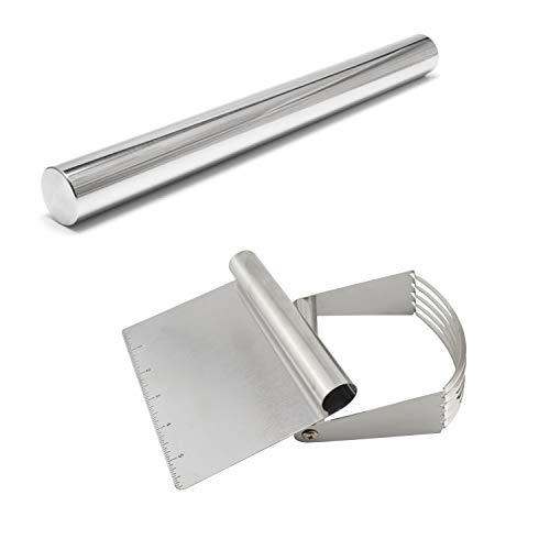 Annkey 3pcs Stainless Steel Bench Scraper, Dough Blender, Rolling Pin Non-Stick Pastry Dough Cutter Set Kitchen Baking Tools
