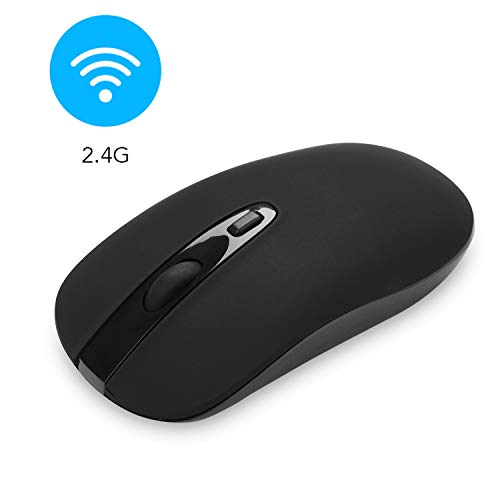 Wireless Computer Mouse, Cimetech Slim Cordless Mouse for Laptop Ergonomic Optical with Nano Receiver USB Mouse for Laptop, Deskbtop, MacBook (BAT Black)
