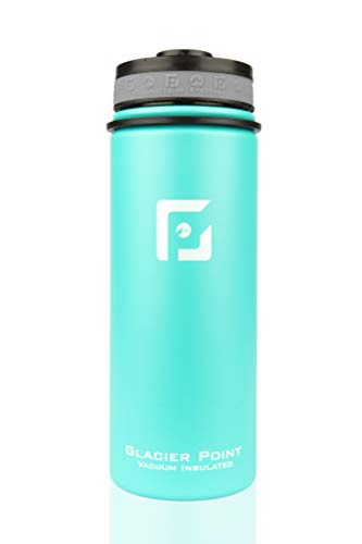 Glacier Point Vacuum Insulated Water Bottle (18oz / 32oz) Wide Mouth with Bonus Sports Lid (Teal, 18 OZ)