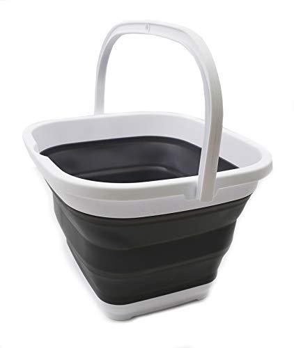 Canasta / balde plegable de 10l. rectangular blanco/gris