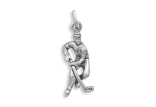 Corinna-Maria 925 Sterling Silver Hockey Player (Hockey Player Charm)