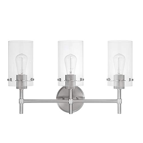 - Globe Electric Cusco 3-Light Vanity, Brushed Steel, Clear Glass Shades 51362