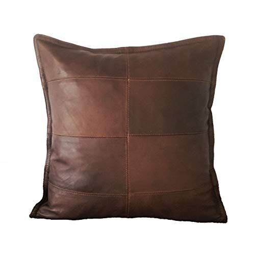 Unique 8 Panel Genuine Lambskin Leather Throw Pillow Cover - Handcrafted Top Grade Leather and Satin with Artisan Quality - 18