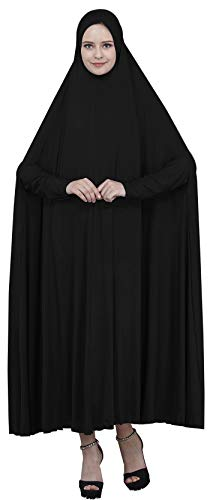 Ababalaya Women's Muslim One-piece Large Overhead Prayer Dress Hijab Abaya for Hajj Umrah,Black,Tag XL Length 61 inch -
