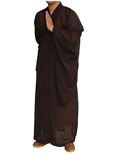 x Monk Kung fu Robe Costume Long Gown Suit (L/175, Coffee) ()