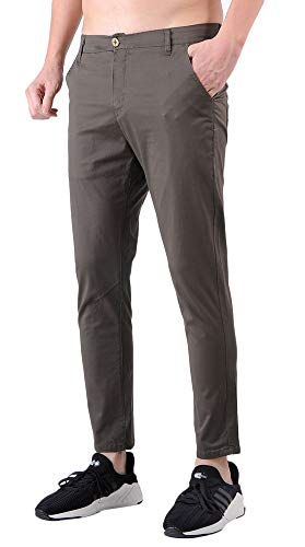 Plaid&Plain Men's Slim Fit Stretch Casual Grey Green Pants Cropped Chinos Flood Pants Grey Green 27