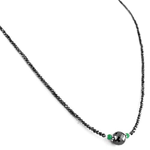 Barishh Black Diamond 18 inches Necklace-4 mm-75 Carats.Certified.AAA Quality.18 K Gold Clasp. Earth Mined by Barishh