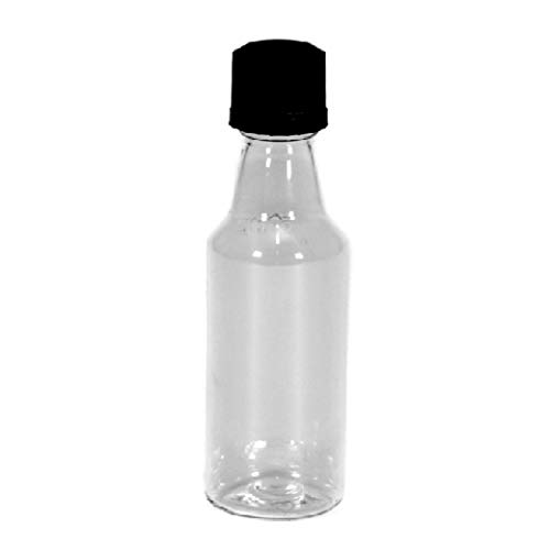 100 Mini ROUND Plastic Alcohol 50ml Liquor Bottle Shots + Caps (100 Bulk) for party favors in Weddings, Anniversary, Events, holds BBQ Sauce Samples, Essential Oils, etc. Proudly Made in the USA! by Party Over Here (Image #1)