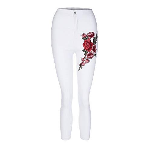Florale Maigre Stretch Blanc conqueror Haute Jeans Taille Femmes Sexy Pantalon Mode Applique qRXTxYH