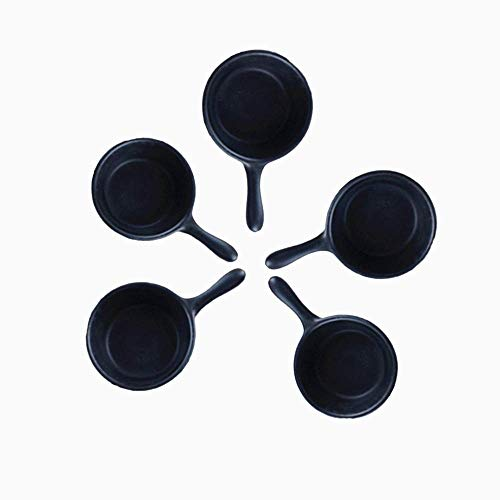 - leoyoubei 1 oz Porcelain Dipping Bowls/Soy Sauce Dishes/Appetizer Spoons mini- 5 Packs, Stackable Ramekins with Handle Grip (black)
