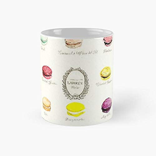 Laduree Macarons Flavor Menu Mug laduree Tea Cups, 11 Ounce Ceramic Mugs, Perfect Novelty Gift Mug, Funny Gift Mug, Tea Mugs, Funny Coffee Mug 11oz ()