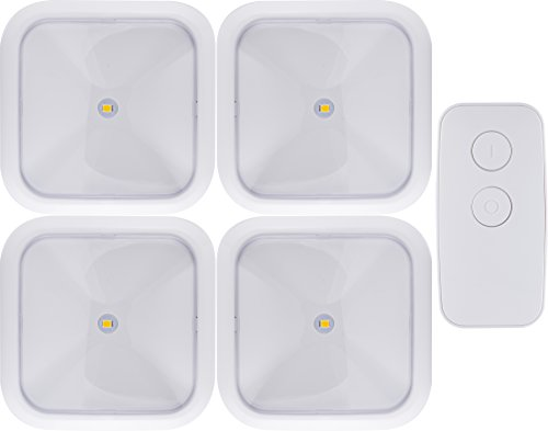 GE 38559 Wireless Remote LED Puck Lights (4 pack), Remote Controlled, Wireless, 20 Lumens Each, Bright White Light, Battery Operated, No Wiring Needed, Easy to Install ()