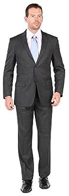 Bertolini Mens 2 Button 2 Piece Modern Fit Suit - Wool/Silk Blend