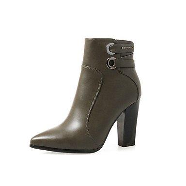 Heart&M Mujer Zapatos PU Otoño Invierno Confort Botas de Moda Botas hasta el Tobillo Botas Tacón Stiletto Dedo Puntiagudo Cremallera Combinación army green