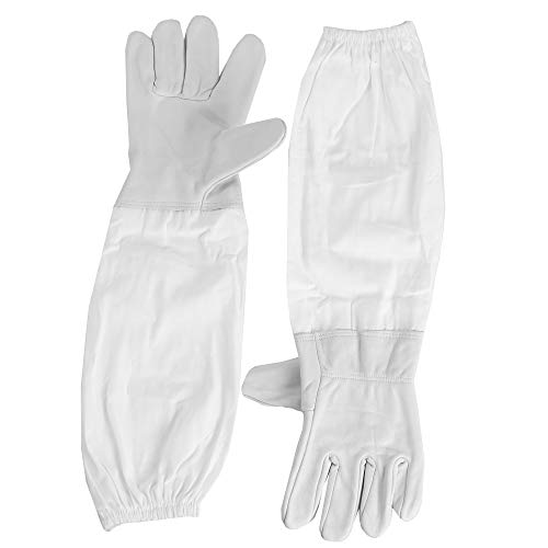 VIVO Large Leather Beekeeping Gloves with Sleeves | Bee Keeping Apparel (BEE-V103L)