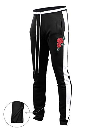 SCREENSHOTBRAND-P11853 Mens Hip Hop Premium Slim Fit Track Pants - Athletic Jogger Rose Embroidery Bottom with Taping-BK/WH-Large