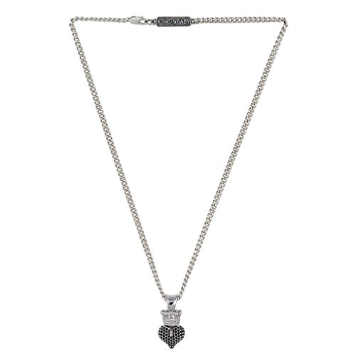 King Baby 3D Crowned Heart Pendant Necklace in Black CZ's and Silver