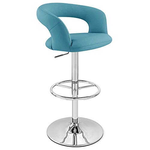 Zuri Furniture Teal Monza Adjustable Height Swivel Armless Bar Stool