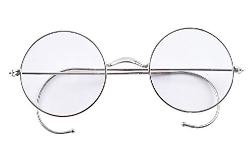 Agstum Retro Round Optical Rare Wire Rim Eyeglass Frame 49mm (Without Nose Pads) (Silver, - Nose Without Pads Glasses