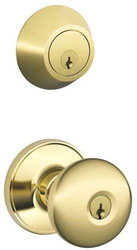 Schlage JC60V STR 605 Security Set Single Cylinder Deadbolt and J54 Keyed Entry Stratus Knob, Bright Brass Finish