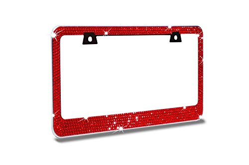 JR2 Bling 7 Rows Red Color Diamond Crystal Metal Chrome License Plate Frame+Free Cap