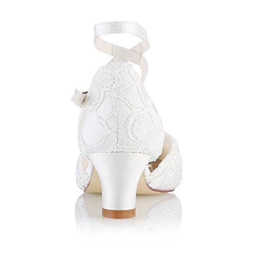 Punta Fornido Mujeres Novia Cerrada Zapatos de 00967 Tal de White Mrs Las wvT8Ow