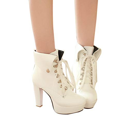 Todaies Fashion Female Sexy Platform High Heel Ankle Shoe Lace Up Round Toe Short Boots White