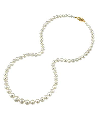 THE PEARL SOURCE 14K Gold 4-9mm AAA Quality Graduated Round White Freshwater Cultured Pearl Necklace for Women in 18