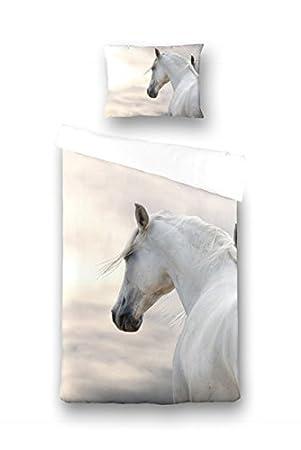 Aminata Kids Kinder Bettwäsche Set 135 X 200 Cm Pferd E Motiv