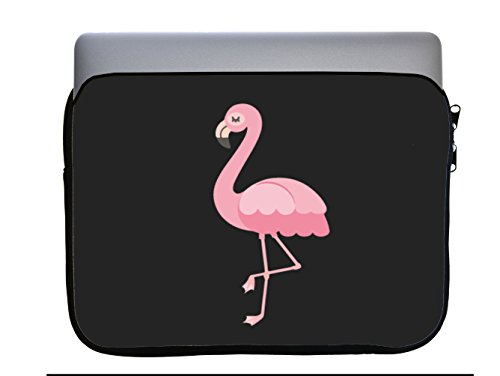 Flamingo Pretty Bird Pink Black Background 13x10 inch Neoprene Zippered Laptop Sleeve Bag by Moonlight Printing for Macbook or any other Laptop by Moonlight Printing