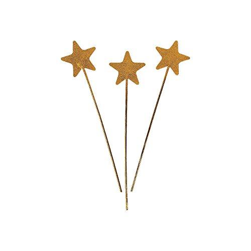 Fun Express - Gold Star Glitter Wands for Halloween - Apparel Accessories - Costume Accessories - Bulk Accessories - Halloween - 12 Pieces -