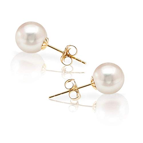 PAVOI Handpicked AAA+ 14K Gold Round White Freshwater Cultured Pearl Earrings | Pearl Earrings for Women